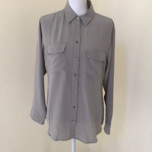 Equipment grey size medium silk button down shirt